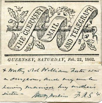 Header of Guernsey Mail and Telegraph and note by Samuel Elliott Hoskins FRS