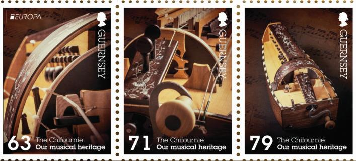 Guernsey Post Europa stamps showing a hurdy-gurdy or chifournie