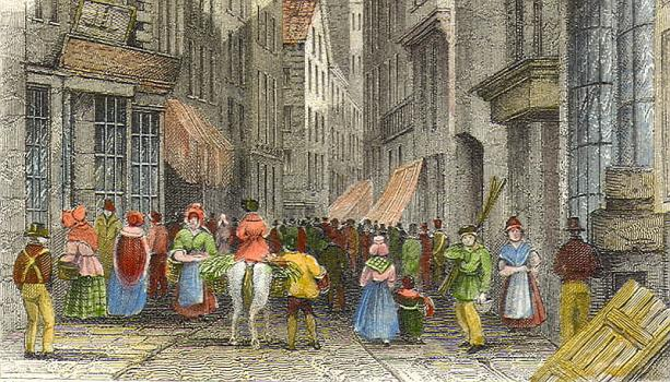 Detail from print, High Street in the 1830s, Priaulx Library Collection