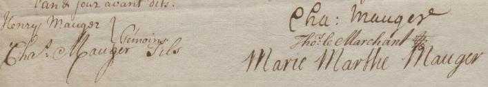 Signatures on marriage contract of Thomas Le Marchant and Marie Marthe Mauger 1740