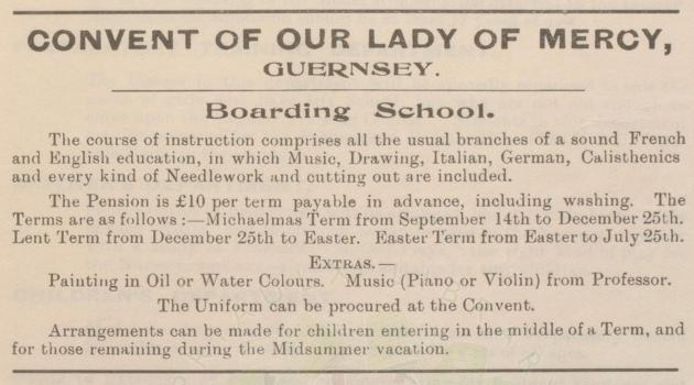 Advertisment from Aubrey's Business Directory 1913, Priaulx Library Collection