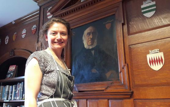 Sally Ede-Golightly of Ede Conservation working on Osmond de Beauvoir Priaulx's portrait