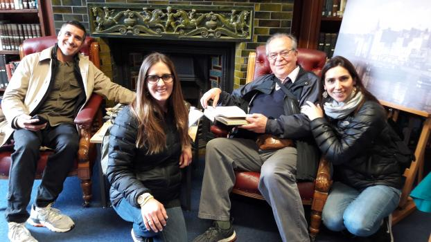 Alejandro de Vic Tupper and his family at the Priaulx Library, Guernsey, September 9 2019
