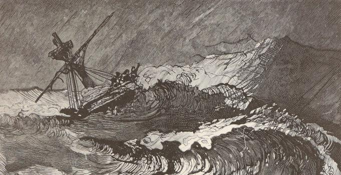 Stormy Sea by Victor Hugo Meaulle engraving from Priaulx Library Collection cropped (c) The Priaulx library