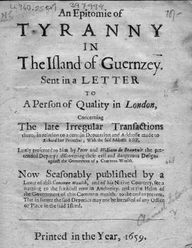 Epitomie of tyranny, pamphlet, 1659, Priaulx Library collection