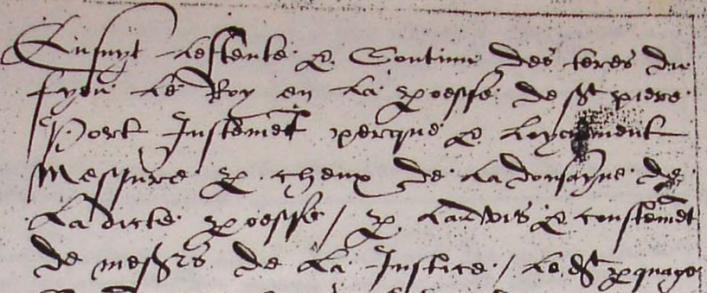 Livre de perchage Fief Le Roi 1573