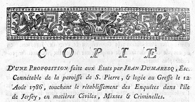 Frontispiece of Dumaresq's Proposal, Priaulx Library Collection