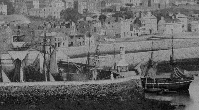St Peter Port harbour in 1857, detail, Garnier, Priaulx Library Collection