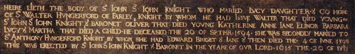 Inscription from memorial at Lydiard Tregoze courtesy of Lydiard Tregoze house