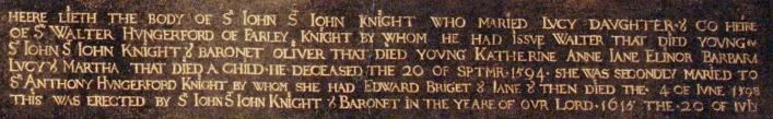 Inscription from memorial at Lydiard Tregoze courtesy of Lydiard Tregoze house