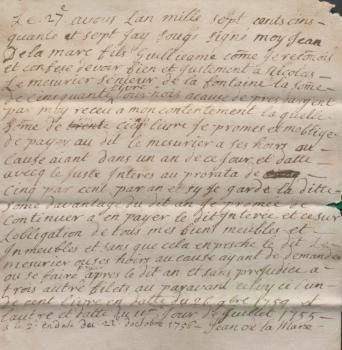 Jean de la Mare promissory note 1757, Priaulx Library Collection