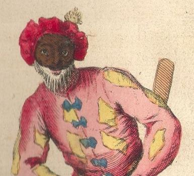 Frontispiece showing Harlequin costume from Riccobon's Histoire du Theatre Italien, 1728, in the Priaulx Library Collection