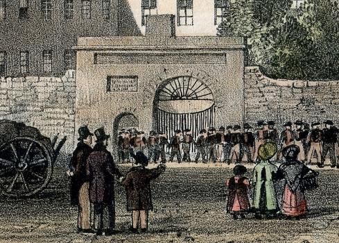 Detail from Moss print of Town Hospital, Guernsey, Priaulx Library Collection