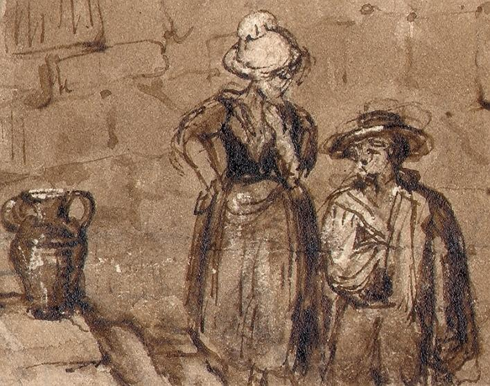 Detail from Cecila Montgomery's ink sketch Pier, Castle Cornet, Priaulx Library colelction