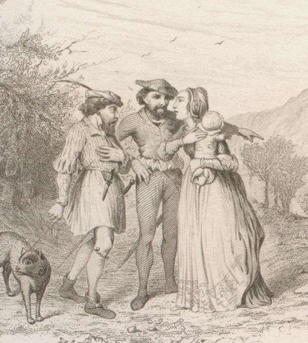 Cantique de Genevieve de Brabant, illustration from Chants et chansons populaires de la France, Paris, Garnier Freres 1854, Priaulx LIbrary Collection