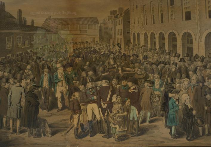 Guernsey Market Place, by Finucane, Priaulx Library Collection