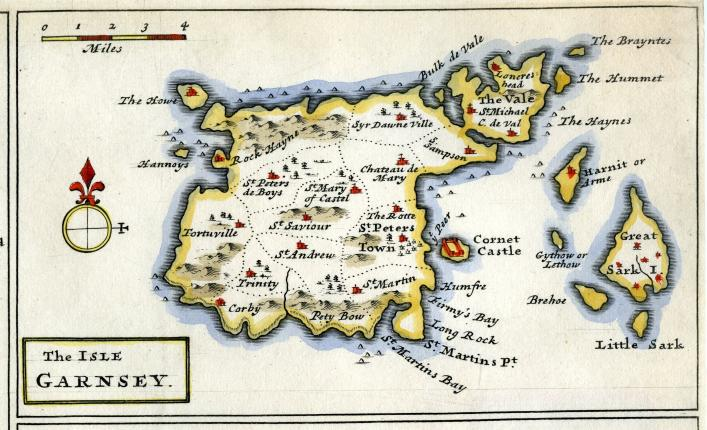 The Isle of Garnsey, Herman Moll Map, Priaulx Library, Guernsey