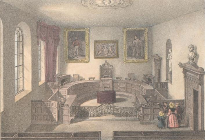 Interior of the Royal Court, Guernsey, published Moss, Priaulx Library Collection