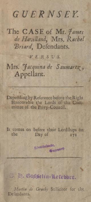 JAcquine de Saumarez printed judgment 1717, Priaulx Library Collection