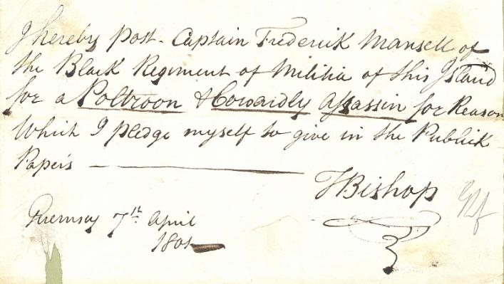 Thomas Bishop posting of Frederick Mansell, 1801, Priaulx Library Collection
