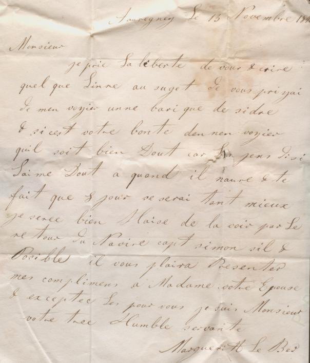 Letter from Marguerite Le Ber, Priaulx Library Le Hurel Collection