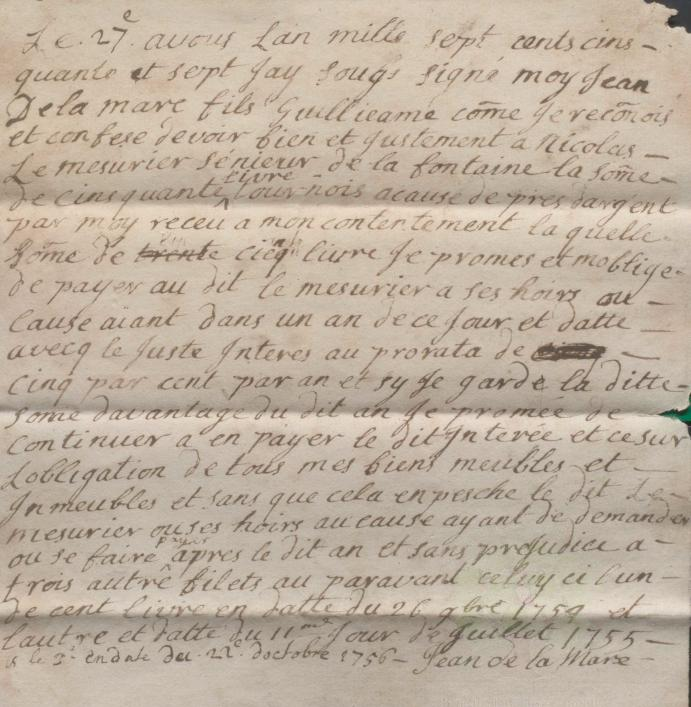 Jean de la Mare promissory note 1757, Priaulx Library Collection