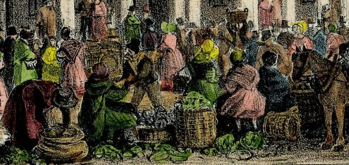 Detail from a Moss print of the Guernsey Market, Priaulx Library Collection