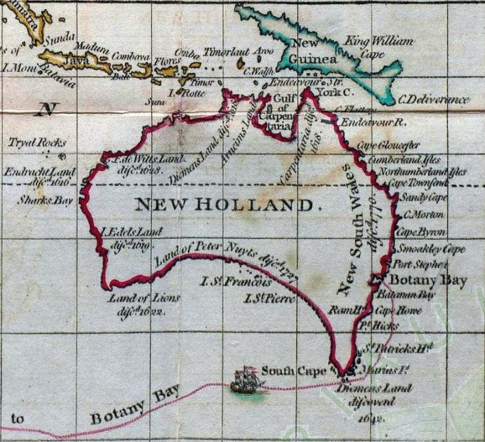 Detail from the map of the route to New Holland in Eden's 'History' in the Library Collection