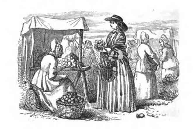 Guernsey beauties at the market from Octavius Rooke (c) Priaulx Library Guernesey