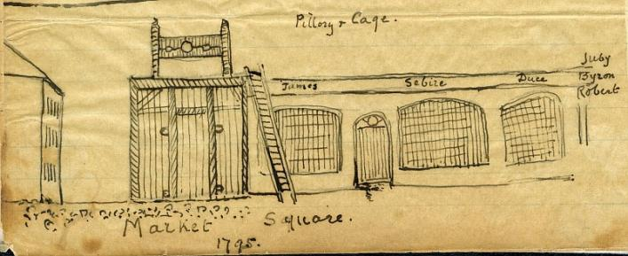 The cage and pillory from Lukis memoirs in Priaulx Library Collection