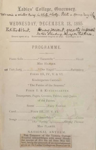 Ladies College Breaking Up Exhibition 1895, Priaulx Library Collection