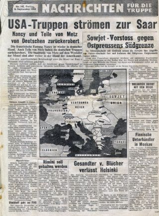 Forces News, dropped by the Allies for the German troops in Europe