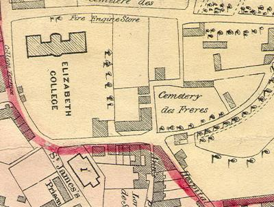Detail from 1843 map of St Peter Port, Priaulx Library Collection