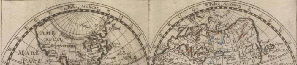 World map, 1686, Pierre Martin's Caen notebook, Priaulx LibraryCollection, detail