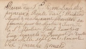 From the rent book of Jean Lenfestey, son of Pierre de la Sainte Appoline, recently donated