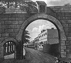The entrance to the New Ground with Grover's Hotel, 1814