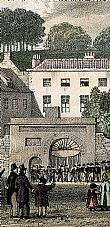 "The ""new"" Hospital gateway, from a Moss print c.1829"