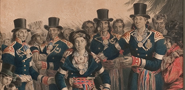 Lithograph of the Huron chiefs with their medals